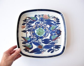Cheap Shipping! Royal Copenhagen - large square dish - birds and flowers - 144/2885 - Kari Christensen - Danish mid century pottery