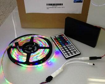 Battery Powered 3528 RGB LED Strip Light Kit with 44 key Remote (Waterproof, 300 LEDs, 16.4ft, OctoPak 2-S)