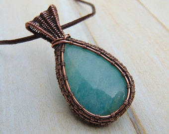 Amazonite Pendant - Wire Wrapped Handmade Jewellery - Wire Jewellery - Gemstone Jewellery - Green Stone Necklace