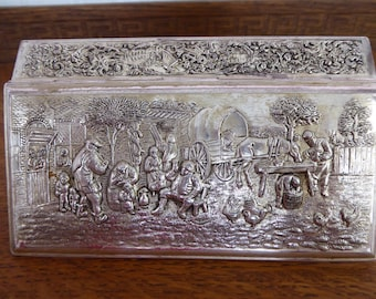 Vintage Antique DUTCH  Hammered Silver Plated  Metal Trinket Box 1924-43