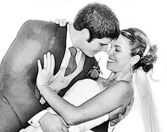 Custom Wedding Portrait - Custom Portrait - Digital Sketch - Sketch from Photo - wedding art - Wedding Thank you