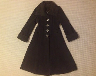 1960's, black, wool, coat, with large collar, cuffed, bell sleeves, flared bottom, and oversized buttons, Women's size Small/Medium