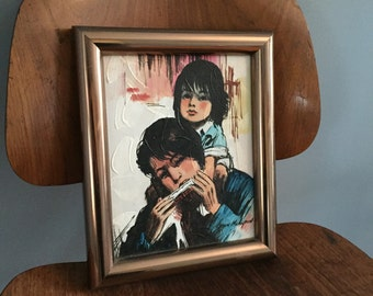 Mother & Daughter Mid Century Original Painting by Kevin McAlpin ~ Framed