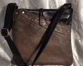 Black and brown repurposed leather cross body bag