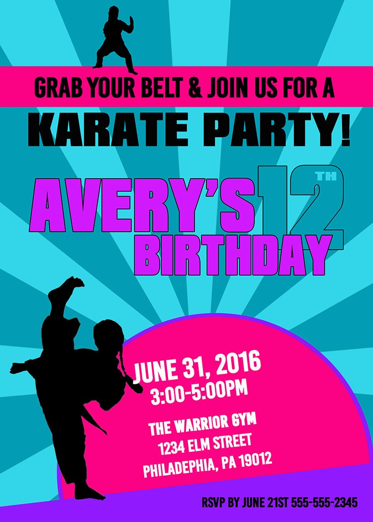 Karate Birthday Invitations Girl Karate Invitation Karate – Martial Arts Birthday Invitations
