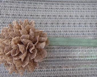 brown lace flower headband, newborn, infant, toddler, photo prop, glitter, elastic, lace headband, MORE ELASTIC OPTIONS!