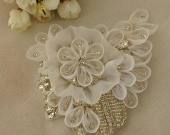 Luxury Rhinestone Applique with 3D Chiffon Rosette for Bridals Sash, Wedding Belt DIY