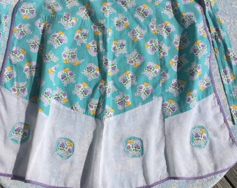 Vintage Feed Sack Apron with sheer panels and a pocket