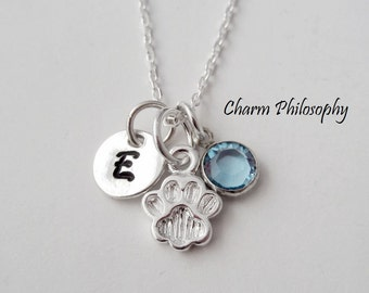 Dog Paw Necklace - Pet Memorial Jewelry - 925 Sterling Silver Jewelry - Personalized Birthstone and Initial