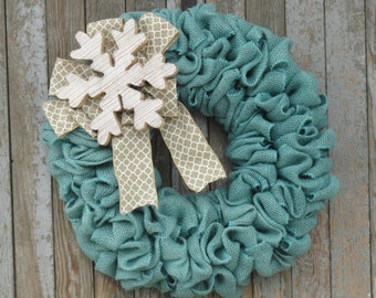 Winter Burlap Wreath, Snowflake Wreath, Snow Wreath, Turquoise and White Burlap Winter Wreath, Christmas Burlap Wreath, Turquoise Christmas