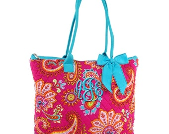 Quilted Tote Bag Paisley Hot  Pink Tote Aqua Trim with Free Embroidery