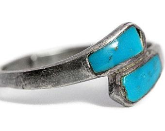 Boho Turquoise Ring Vintage Silver