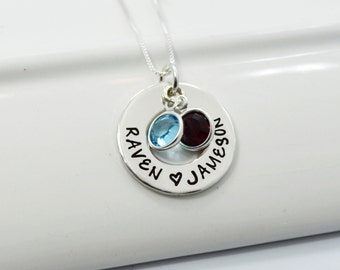 Personalized Hand-Stamped Mother's Necklace | Open Circle Pendant with Birthstones