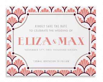 Art Deco Printable Save the Date with Print-at-Home Wedding Invitation Suite and Print-ready Information Card