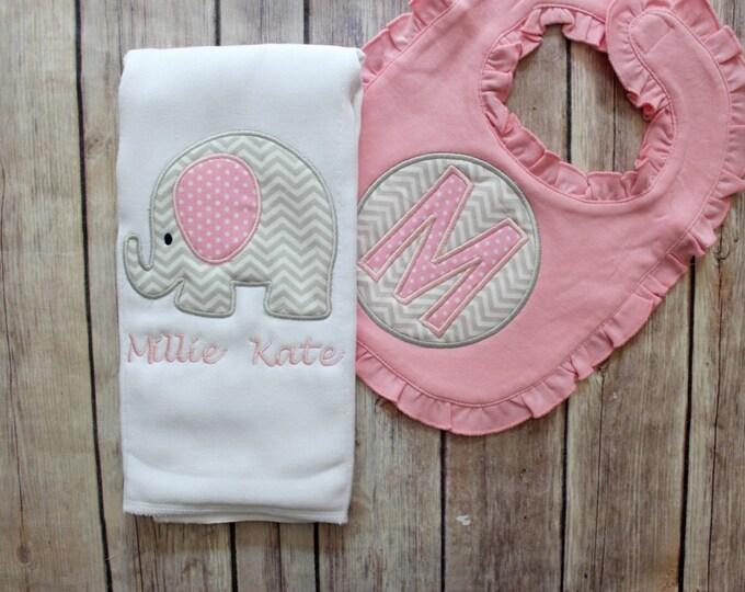Monogrammed Baby Girl Elephant Burp Cloth Bib Set, Personalized Elephant Gift Set, Elephant Girl Gift, Pink Grey, Elephant Burp
