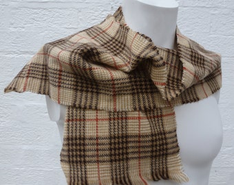 Vintage scarf brown wool check womens plaid urban scarf indie accessory mens cosy scarf soft small scarve fall 90s gift ladies scarf mens.