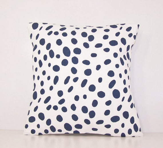 navy dalmation dot pillow cover euro sham lumbar18 x 18 20. Black Bedroom Furniture Sets. Home Design Ideas
