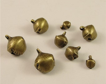 2000 Christmas Bell Charms, 6mm Brass Tone Jingle Bells Pendants A21656
