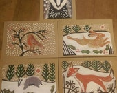 Pack of 5 x Christmas Cards - a lino cut print and painted card.