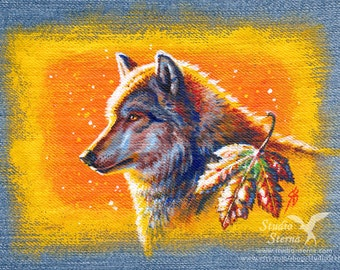 Original acrylic painting Denim Wolf Autumn 15 x 20 cm wild animal realistic Canis lupus profile nature orange red Indian Summer picture