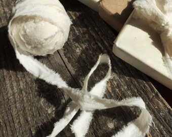 Muslin Fabric Ribbon, Bulk Ribbon, Muslin Ribbon, Ivory Ribbon, Gift Ribbon, Shabby Chic Ribbon, 20 yards soft crinkly rustic chic ribbon