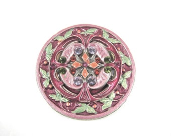 Vintage Catherine Popesco Pink, Green And Orange Enamel and Swarovski Crystal Signed Round Brooch-Made In France