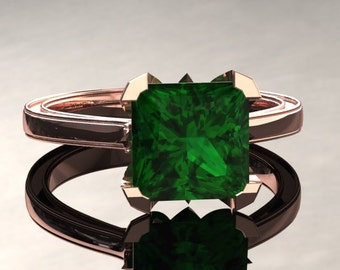 Emerald Engagement Ring Princess Cut Emerald Ring 14k or 18k Rose Gold Matching Wedding Band Available SW17GR