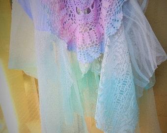 VALENTINE 50% OFF Stunning Handmade OOAK Pastel Ombre Lace Crochet  Gypsy Stevie Nicks Fairy Whimsical Hanky Hem Romantic Skirt