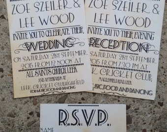 Personalised vintage old paper playbill style wedding invitations and RSVPs