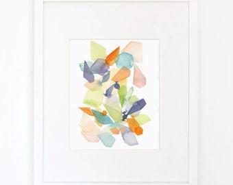 Gems in Violet & Apple Green - Watercolor Art Print