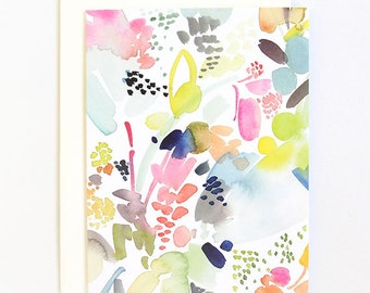 Floral Movement in Orange - A2 Greeting Card