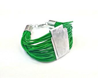 Bold bracelet - Green rubber bracelet - Contemporary jewelry - Modern bracelet - Contemporary bracelet - Bangles - Cuff bracelet .