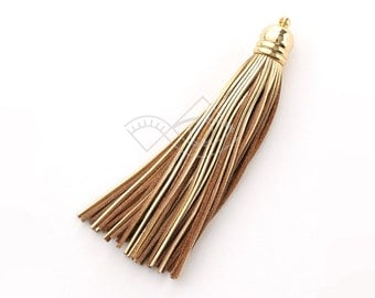 4001251 / Shiny Gold / Genuine Leather Tassel / 16k Gold Plated Brass Cap 12mm x 98mm / 7.5g / 60strands / 1pcs