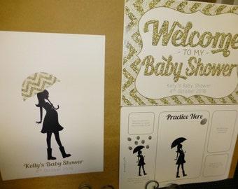 Baby Shower Fingerprint Art & Welcome Sign - 'Glitter' design - 4 colours - New Baby Gift - New Mum