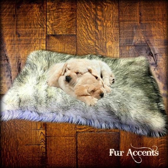 SALE Dog Bed Pet Cat Mat Faux Fur Shaggy Black By FurAccents