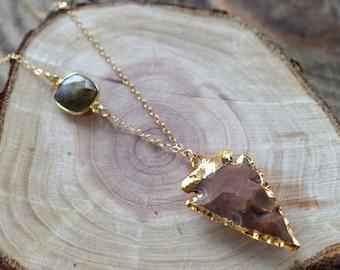 SALE- Jasper Arrowhead Necklace- Arrowhead Necklace
