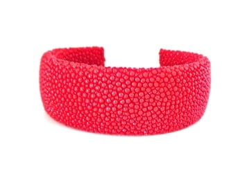 red shagreen leather strap