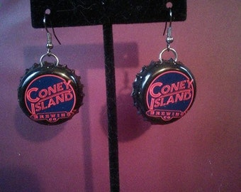 Recycled Coney Island Hard Root Beer Bottle Cap Upcycled Bottlecap Earrings