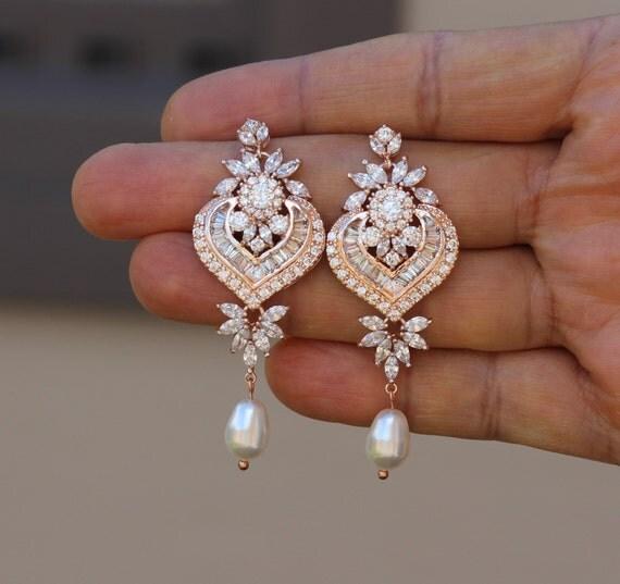 rose gold crystal bridal earring wedding long earring bridal. Black Bedroom Furniture Sets. Home Design Ideas