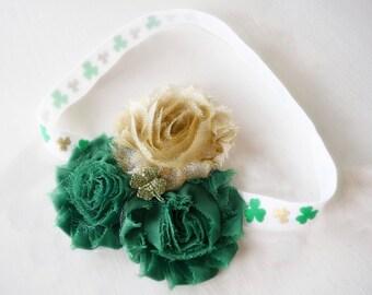 Saint Patricks Headband - Irish Headband - Lucky Bows - Green Shamrock Headband - Green and Gold Headband - Luck of the Irish -Baby Girl Bow