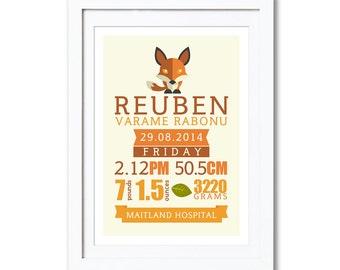 """Fox Birth Detail Print, A4 8x10"""" A3 or 11x14"""", printed"""