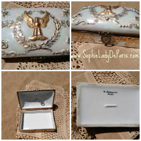 Eagle Box Antique French Limoges Porcelain Gilded by Montigny & Cie Mother of Pearl Lusterware Napoleon Empire Style #sophieladydeparis