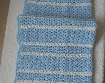 Blue & White Baby Blanket/Afghan Handmade Crochet