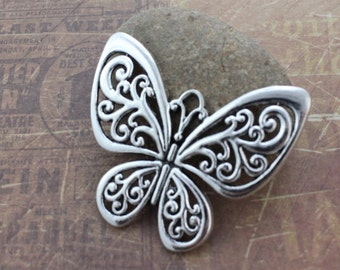 5 Large Butterfly Charms Antiqued Silver Tone 55 x 50 mm