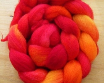 "Hand Dyed BFL Roving- ""Airborn Fire Breather"""