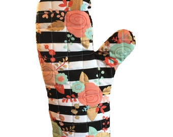 New! Mint and Coral floral oven mitt