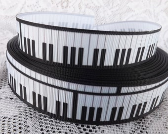 "Piano Ribbon Piano keys grosgrain ribbon 7/8"" piano ribbon"