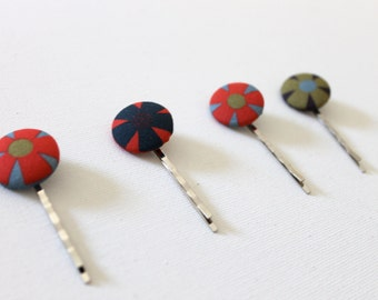Fabric Button Cover Blossom Bobby Pin - Red and Navy