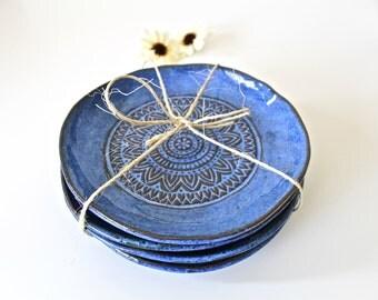 Dessert Plates set in Aztec Blue - Handmade Ceramic Plates Set of 4 - Stoneware Dessert plates -Organic Shape Side Plates in Aztec Blue