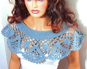 Blue Lace Shrug, Crochet Bride Bolero, Bridesmaid Shawl, Wedding Wrap, Lace Summer Capelet, Bride Capelet,  Wedding Accessories